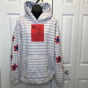 Urban Outfitters Striped Flower Power Peace Hoodie
